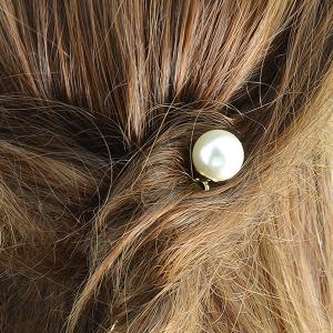 Faux Pearl Alloy Hairpin - GOLDEN