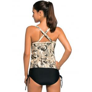 Criss Back Padded Camouflage Tankini Swimsuits -