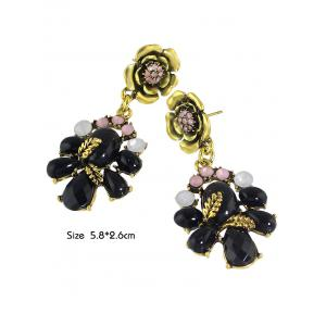 Pair of Faux Gem Flower Earrings -
