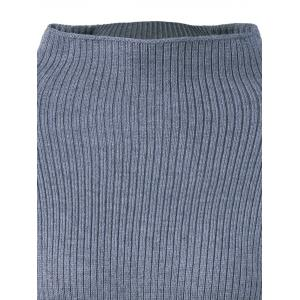 High Collar Lantern Sleeve Ribbed Sweater -