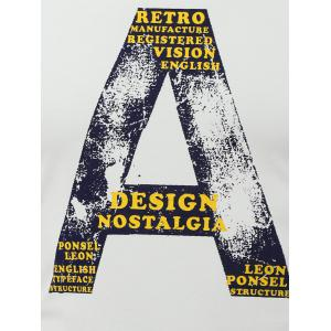 Letter A Print Round Neck Long Sleeve T-Shirt -