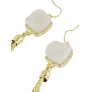 Pair of Faux Jade Tassel Earrings -