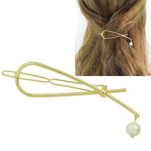 Alloy Knotted Faux Pearl Hairpin - GOLDEN