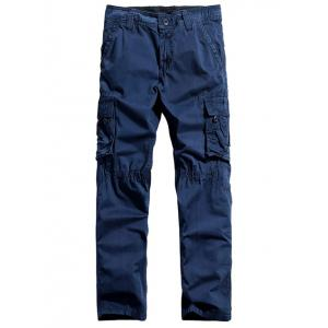 Button Pocket Zipper Fly Straight Leg Cargo Pants -
