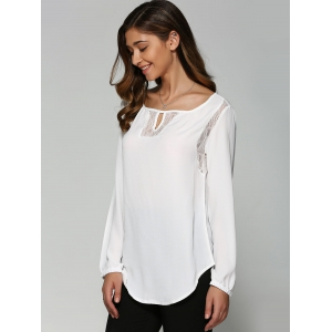 Lace High Low Cutwork Blouse - WHITE XL