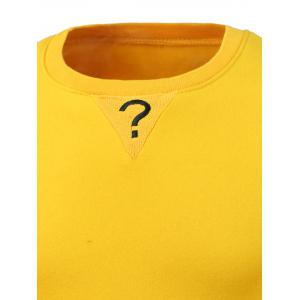 Letters Embroidery Round Neck Long Sleeve Sweatshirt - YELLOW 3XL