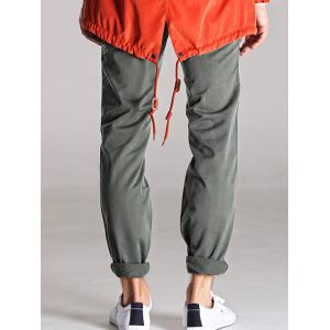 Loose Fitting Mid-Rise Zipper Fly Stitching Cargo Pants - LIGHT GRAY 34