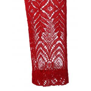Ruffled Cut Out Lace Spliced A-Line Dress - RED S