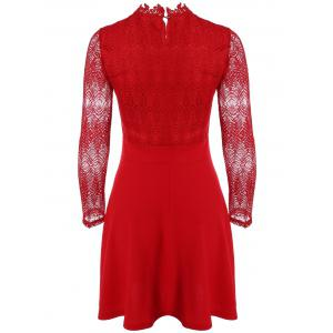 Ruffled Cut Out Lace Spliced A-Line Dress -