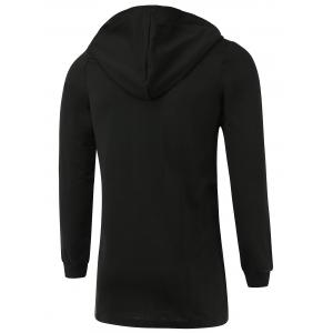 Letter Appliques Lengthen Hooded Zip-Up Hoodie -