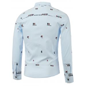 Letters Print Turn-Down Collar Long Sleeve Shirt - BLUE L