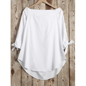 Autumn Bowknot Cuff Off-The-Shoulder Blouse -