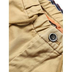 Patched Zipper Pocket Drawstring Chino Jogger Pants -