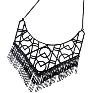 Geometric Openwork Tassel Necklace - BLACK