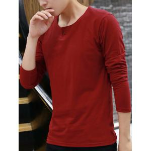 Round Neck Long Sleeve Buttoned T-Shirt - RED XL