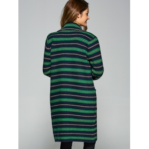 Pockets Jacquard Long Cardigan - GREEN ONE SIZE