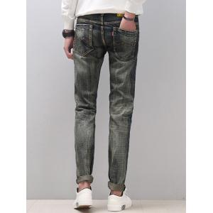 Zipper Fly Narrow Feet Cat's Whisker Distressed Jeans -