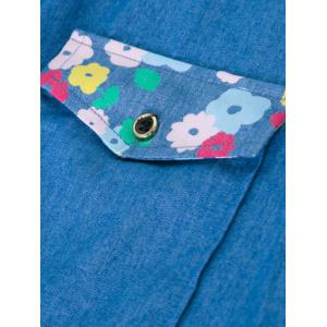 Breast Pocket Long Sleeve Floral Denim Shirt -