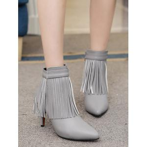 Zipper Fringe Pointed Toe Ankle Boots -