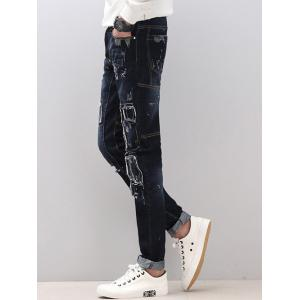 Skinny Splicing Design Distressed Jeans -
