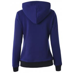 Buttoned Hooded Cottony Jacket - BLUE 2XL
