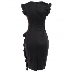 Butterfly Sleeve Ruched Fitted Dress -