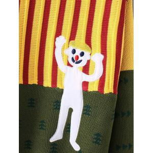 Christmas Tree  Cartoon Patched Striped Sweater -