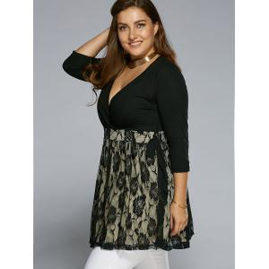 Autumn Rose Lace Patch Wrap Blouse - BLACK 3XL