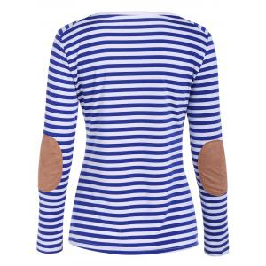Raglan Sleeve Patched Striped T-Shirt - WHITE XL
