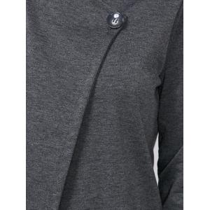Single Button Long Sleeve Plain T-Shirt - DEEP GRAY 2XL