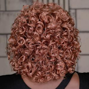 Adiors Medium Curly Colormix Oblique Bang Synthetic Wig - COLORMIX