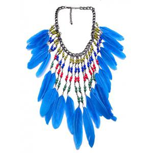 Alloy Tassel Beaded Bohemian Feather Necklace -