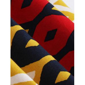Bowknot Geometric Print Vintage Dress - YELLOW AND RED 4XL