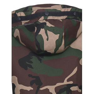 Covered Zip Up Raglan Sleeve Hooded Camo Jacket -