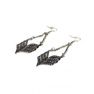 Alloy Rhinestone Leaf Earrings -