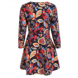 Printed Long Sleeve Fit and Flare Dress -