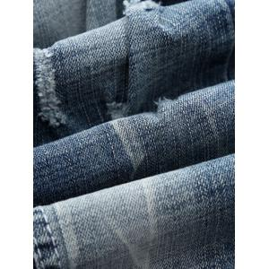 Holes and Cat's Whisker Design Straight Leg Jeans -