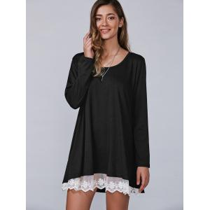 Casual Lacy Long Sleeve Tee Tunic T Shirt Dress -