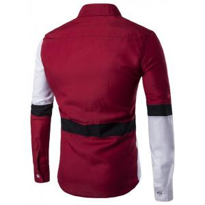 Color Block Button Up Long Sleeve Shirt - RED 2XL