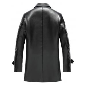 Notch Lapel Double Breasted Faux Leather Coat -