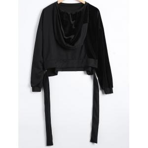 Autumn Circle Hoop Lace-Up Velvet Patched Reversible Crop Hoodie -