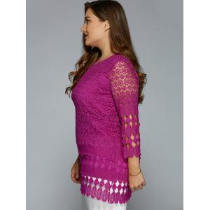 Hollow Out Lace Blouse - PURPLISH RED XL