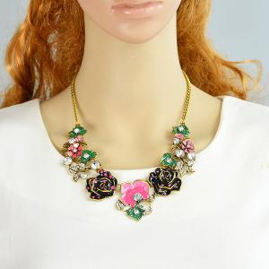 Rhinestone Rose Flower Leaf Necklace - HOT PINK