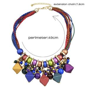 Faux Leather Braid Geometric Beads Necklace - COLORMIX