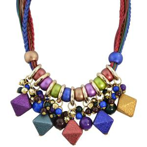 Faux Leather Braid Geometric Beads Necklace -
