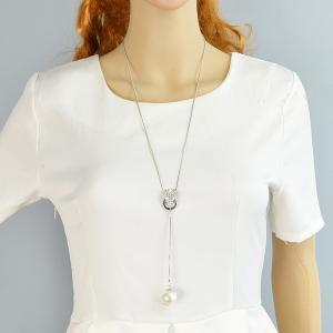 Rhinestone Circle Faux Pearl Layered Necklace -