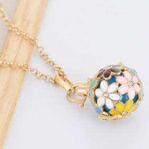 Rhinestone Floral Pregnant Bead Locket Necklace - GOLDEN