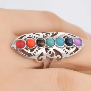 Alloy Multicolored Beads Ring -