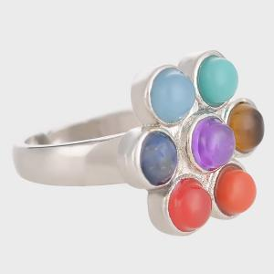 Multicolored Beads Floral Ring - SILVER ONE-SIZE