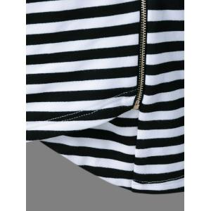 Side Zipper Asymmetrical Striped Jacket -